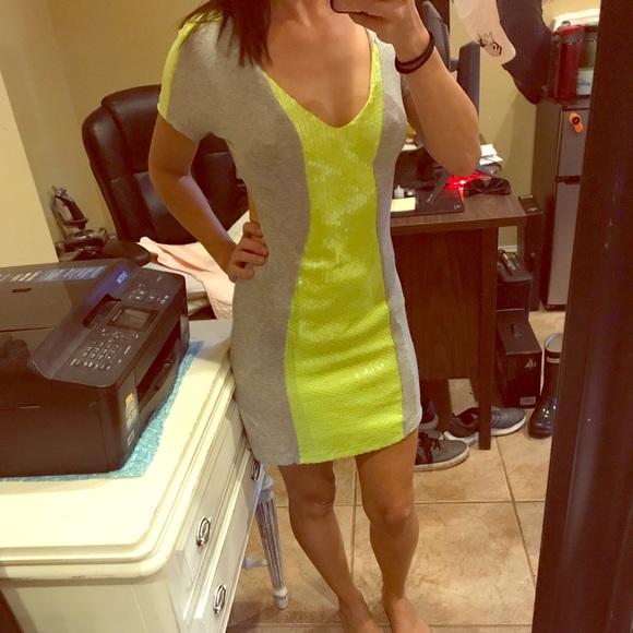 bebe Dresses & Skirts - Bebe Neon Cutout Jersey Sequin Dress
